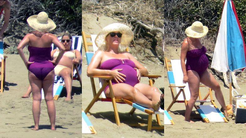 Ciężarna Katy Perry opala się na kalifornijskiej plaży w towarzystwie Orlando Blooma i Karlie Kloss (ZDJĘCIA)