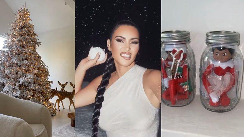 """Kim Kardashian prezentuje swoje """"oryginalne"""" świąteczne dekoracje: Elfy na kwarantannie w słoikach i białe choinki (ZDJĘCIA)"""