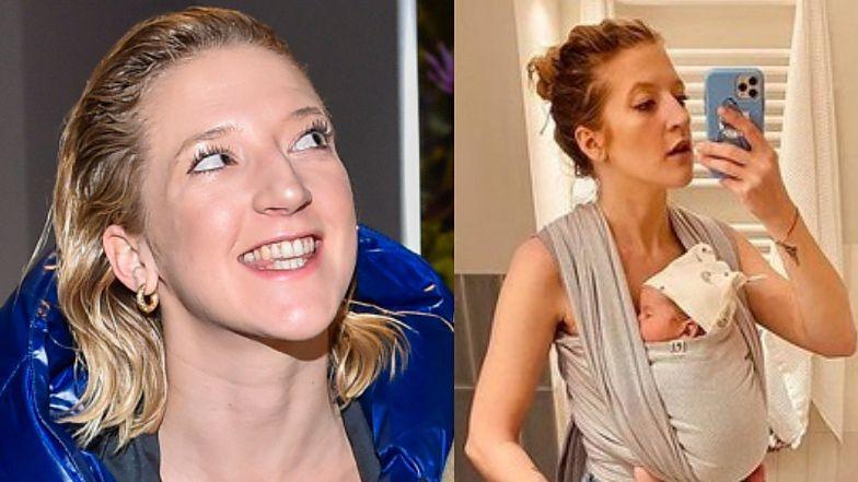 "Lara Gessler w kapciach z futerkiem pracuje na ""home office"" z córką na brzuchu"