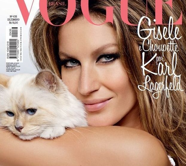 Gisele Bundchen na okładce z kotką Lagerfelda!