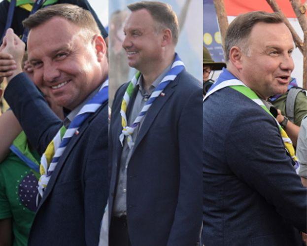 Opalony Andrzej Duda strzela sobie foty z harcerzami. Jest gwiazdą? (FOTO)