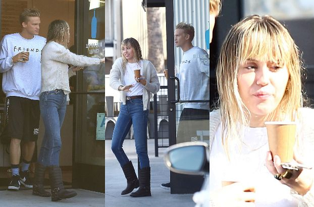 Uradowana Miley Cyrus bez stanika otwiera drzwi nowej sympatii na randce (FOTO)