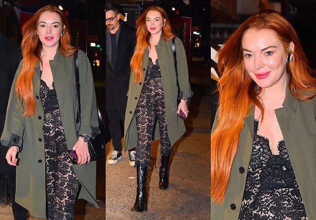 Lindsay Lohan i jej świeżo ostrzyknięte usta podbijają Nowy Jork