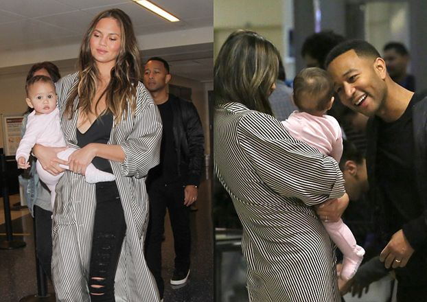 Chrissy Teigen i John Legend z córką na lotnisku (ZDJĘCIA)