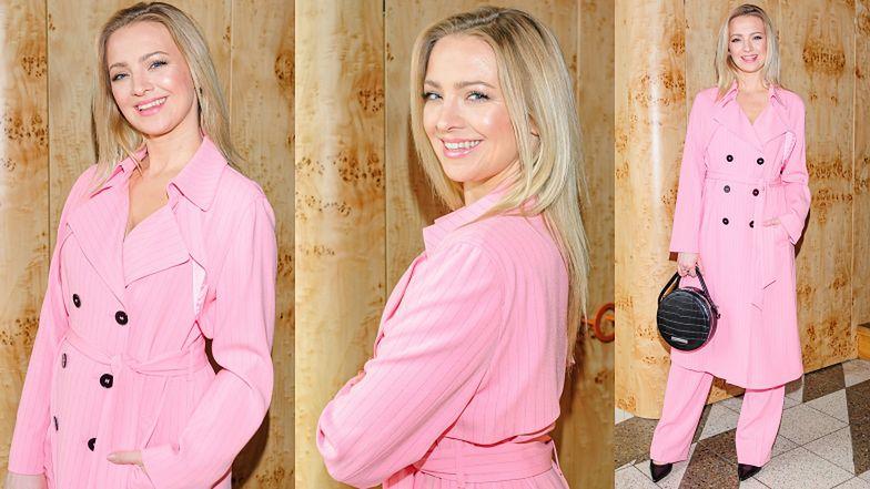 Promienna Barbara Kurdej-Szatan w stylizacji na Różową Panterę pozuje na ściance (FOTO)