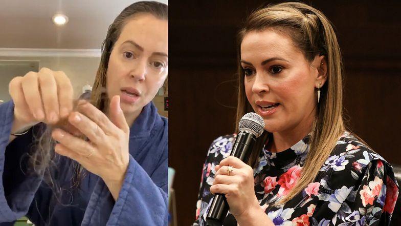 """Alyssa Milano pokazuje WYPADAJĄCE włosy po przebytym koronawirusie: """"NOŚCIE MASKI!"""""""