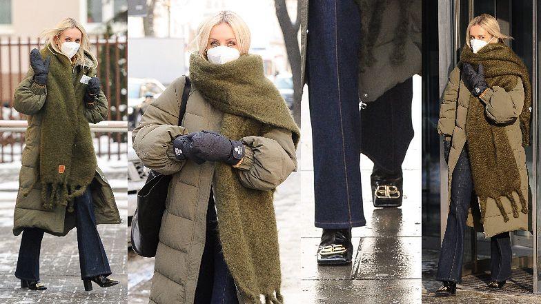 Wystrojona Agnieszka Woźniak-Starak w butach Balenciagi za 6 tysięcy prezentuje zimowe trendy przed studiem TVN-u (ZDJĘCIA)