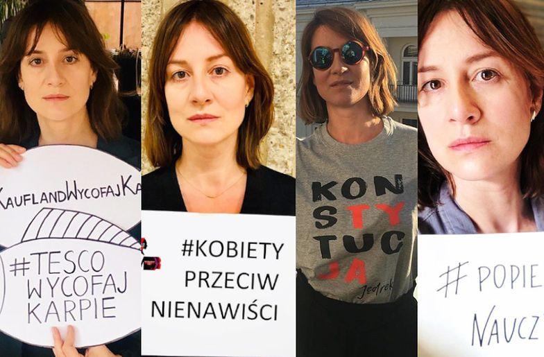 Maja Ostaszewska przeciwko światu. Wszystkie protesty aktorki: dziki, karpie, nauczyciele, czarny protest, LGBT, sądy i więcej