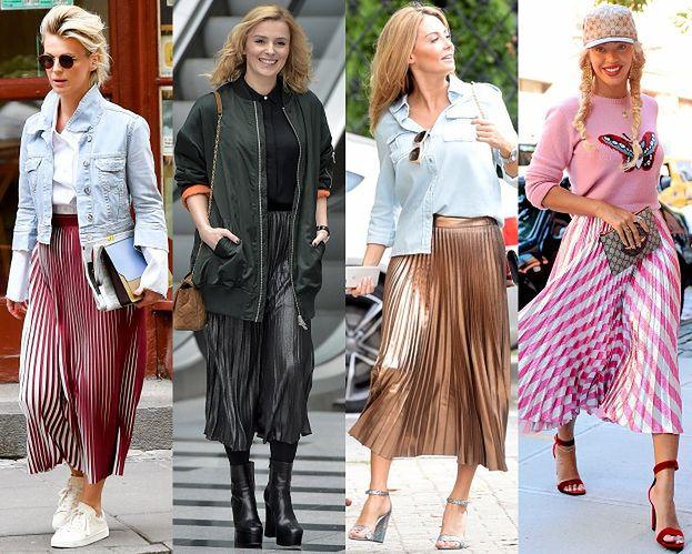 Moda na retro: gwiazdy noszą plisowane spódnice