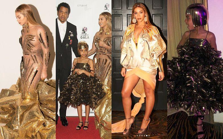Beyonce i Blue Ivy w złotych sukienkach na charytatywnej gali