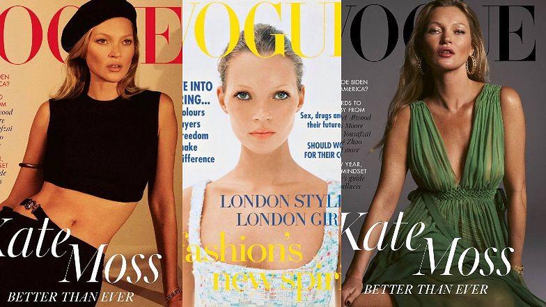 """46-letnia Kate Moss hipnotyzuje na okładce brytyjskiego """"Vogue'a"""". 28 lat wcześniej zadebiutowała na łamach biblii mody (ZDJĘCIA)"""