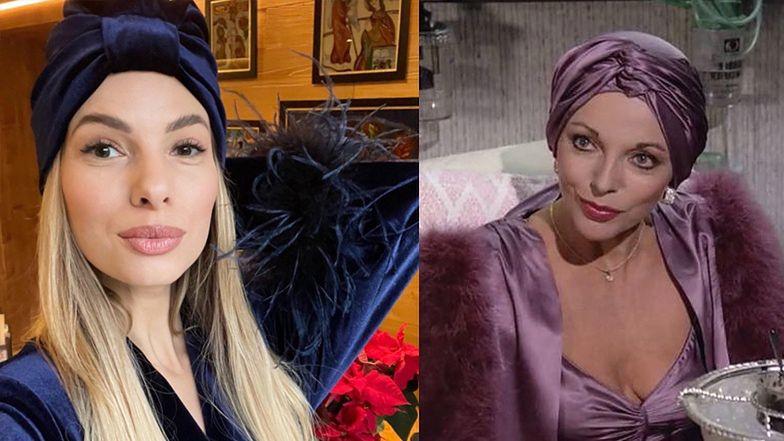 """Izabela Janachowska pozuje w TURBANIE I PIÓRACH. Fani: """"Jak Alexis Carrington"""""""