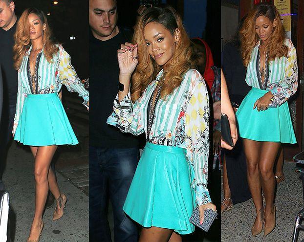 Rihanna W ROZPIĘTEJ KOSZULI... (ZDJĘCIA)