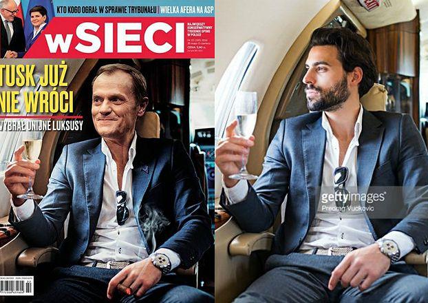 """Tusk pije szampana w samolocie na okładce """"wSieci""""... Dokleili jego głowę do tego zdjęcia!"""