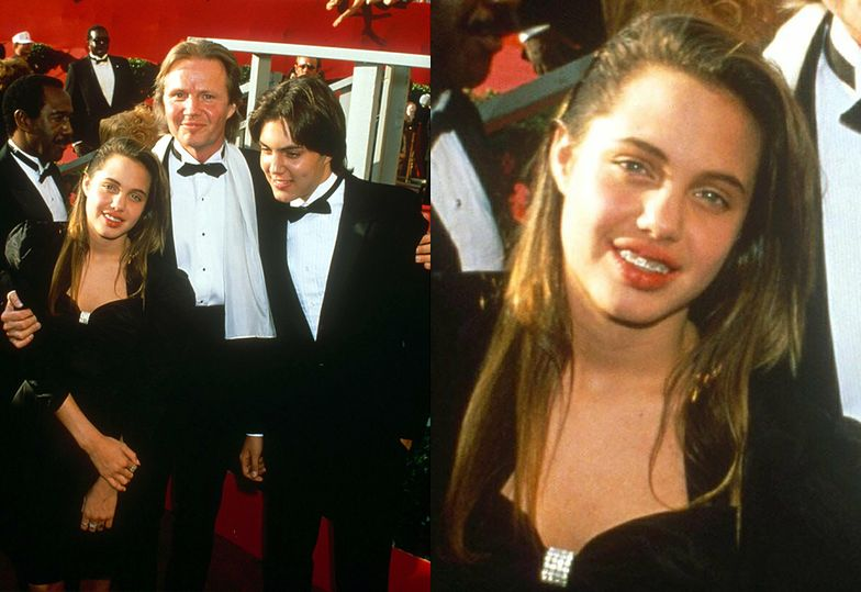 Angelina Jolie z ojcem Jonem Voightem i bratem, 1988 rok