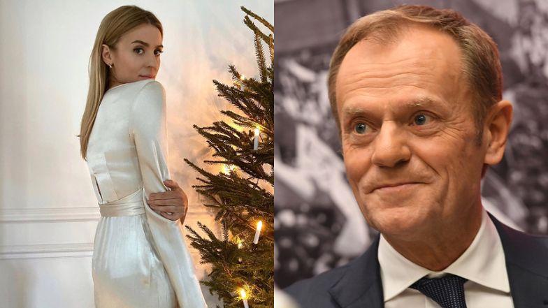 Świąteczna Kasia Tusk prezentuje wigilijną kreację. Donald Tusk zachwyca się... CHOINKĄ