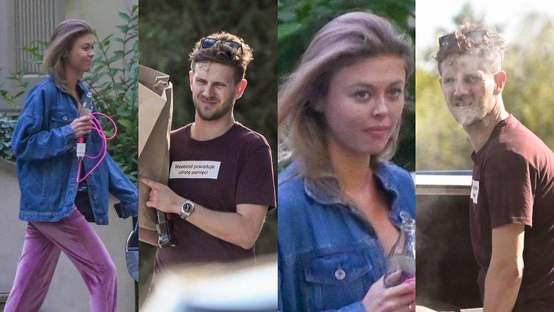 Antek Królikowski i Joanna Opozda pakują się po weselu w pałacu. Napis na koszulce nie pozostawia żadnych złudzeń... (ZDJĘCIA)