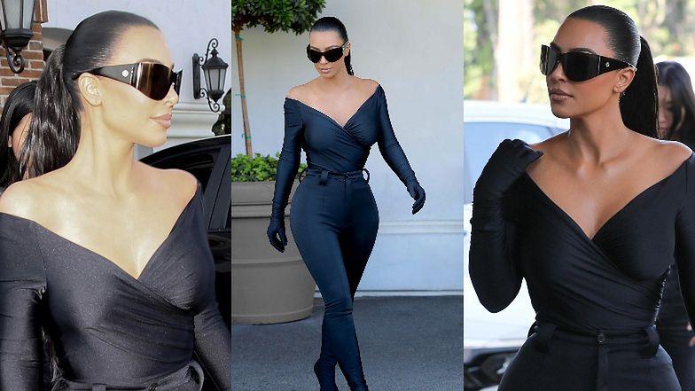 Kim Kardashian paraduje w obcisłym kostiumie rodem z Gali MET do... apteki (ZDJĘCIA)