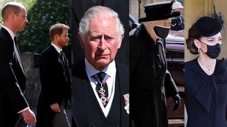 Pogrzeb księcia Filipa: zapłakany Karol, Harry i William idą ramię w ramię, królowa Elżbieta w maseczce zachowuje dystans (ZDJĘCIA)