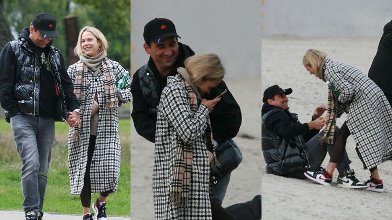 Zakochane gołąbki Michał Koterski i Dagmara Bryzek dokazują na plaży w Gdyni (ZDJĘCIA)