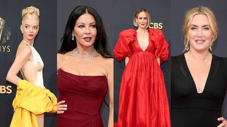 Emmy 2021. Spektakularne kreacje zdobywają czerwony dywan: Anya Taylor-Joy, Catherine Zeta-Jones, Kate Winslet (ZDJĘCIA)