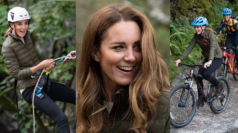 Księżna Kate mknie na rowerze i... zjeżdża na linie! (ZDJĘCIA)