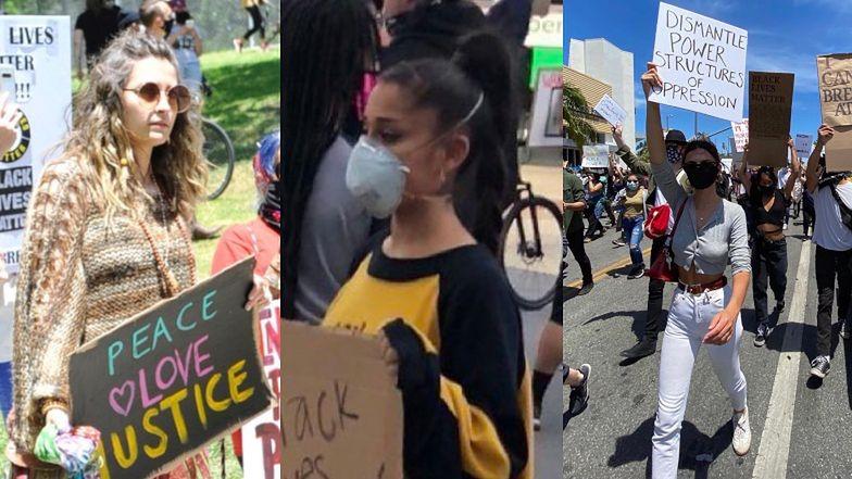 Gwiazdy BIORĄ UDZIAŁ w ulicznych protestach po śmierci George'a Floyda: Ariana Grande, Paris Jackson, Emily Ratajkowski
