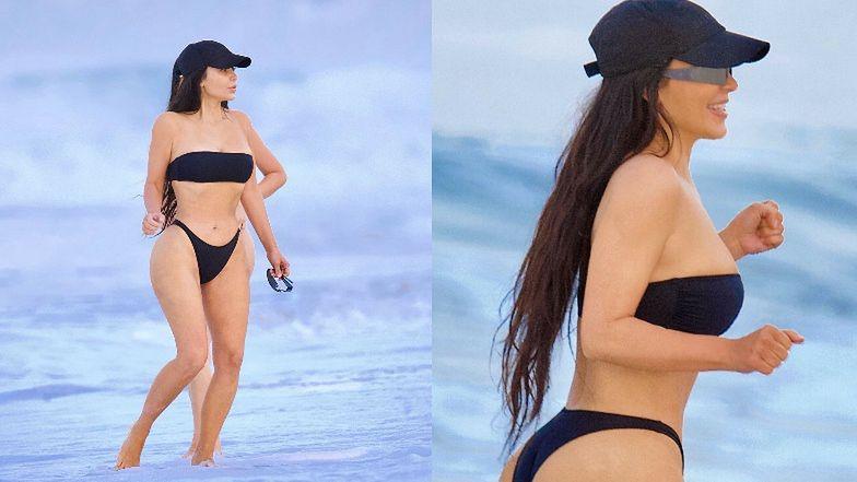 Kim Kardashian biega po plaży w SKĄPYM BIKINI. Ciało idealne? (ZDJĘCIA)