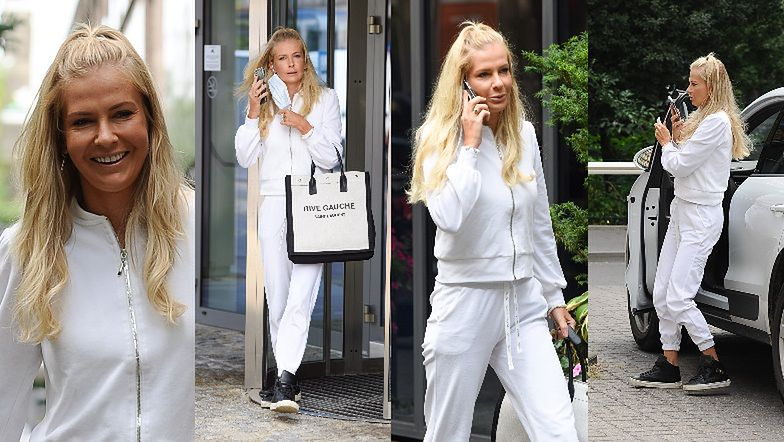 """""""Projektantka"""" Edyta Pazura paraduje ulicą w białym dresie własnego autorstwa i z torbą Saint Laurent za 4,5 tysiąca (ZDJĘCIA)"""