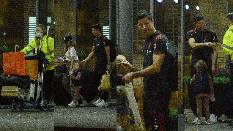 Objuczeni walizkami i markowymi torbami Anna, Robert i Klara Lewandowscy lądują w chwale na warszawskim lotnisku (ZDJĘCIA)