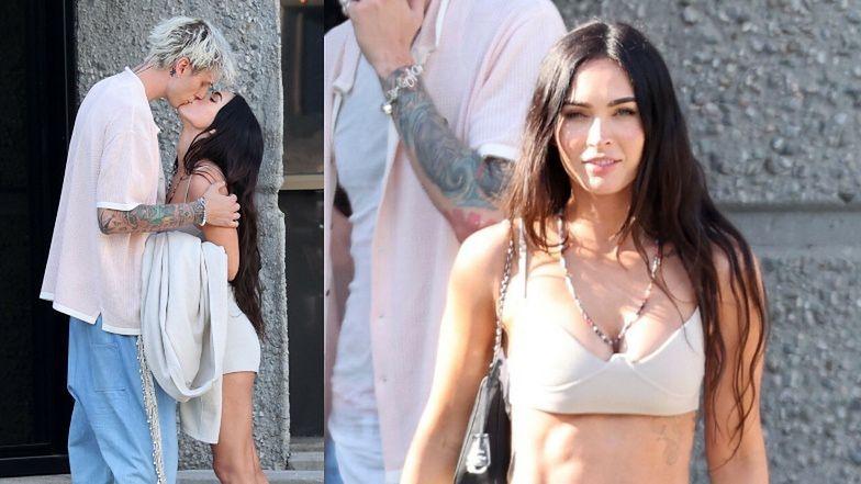 Megan Fox w staniku i szortach całuje Machine Gun Kelly'ego na pożegnanie (ZDJĘCIA)