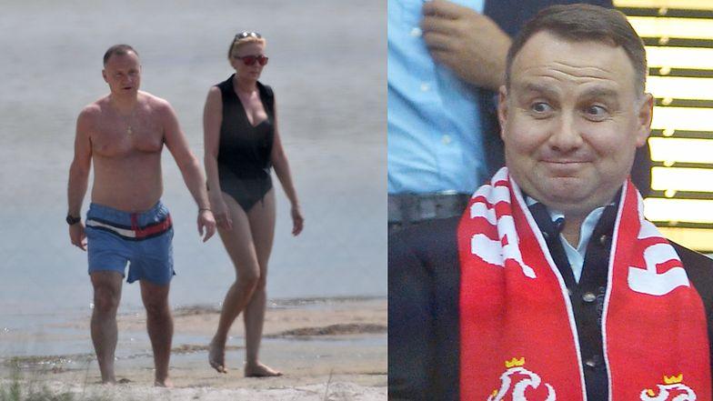 """Internauci oceniają plażową stylizację Andrzeja Dudy: """"Wyznacza trendy jak Rihanna w Sopocie"""""""