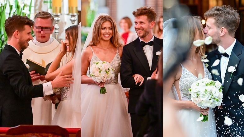 Uradowani Joanna Opozda i Antek Królikowski ślubują wierność w warszawskim kościele (ZDJĘCIA)