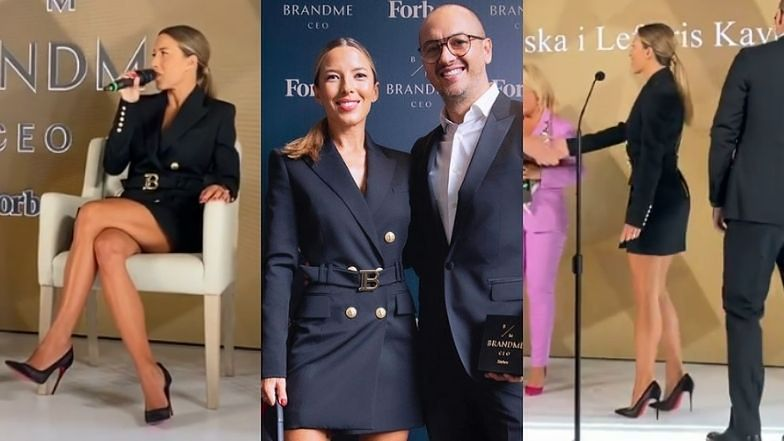 """Ewa Chodakowska BRYLUJE na biznesowej gali w sukience za 8 tysięcy i szpilkach Louboutin. """"Tutaj została nagrodzona AUTENTYCZNOŚĆ"""" (ZDJĘCIA)"""