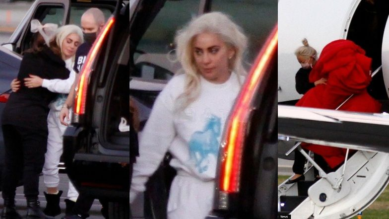 Lady Gaga i jej ikoniczna suknia z zaprzysiężenia wracają do Los Angeles prywatnym odrzutowcem (ZDJĘCIA)