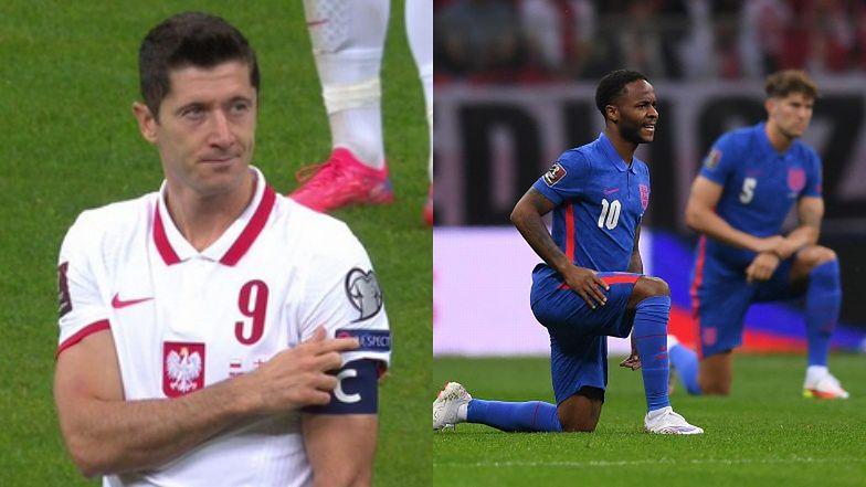 """Brytyjskie media CHWALĄ Roberta Lewandowskiego po tym, jak uspokajał kibiców GWIŻDŻĄCYCH na klęczących piłkarzy z Anglii: """"KLASA"""""""