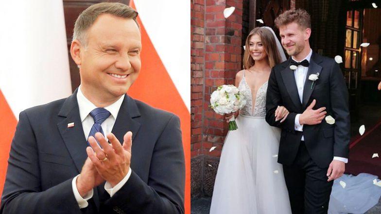 Andrzej Duda składa życzenia ślubne Joannie Opoździe i Antoniemu Królikowskiemu. Popisał się po łacinie...