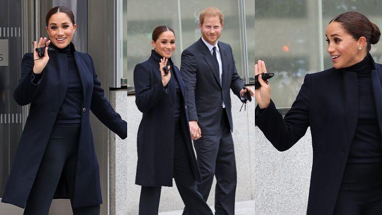 Meghan Markle wróciła przed aparaty... KSIĄŻĘCYM GESTEM pozdrowiła fotoreporterów w Nowym Jorku (ZDJĘCIA)