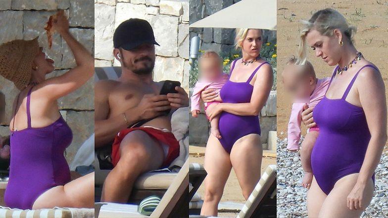 Katy Perry przechadza się po plaży z dzieckiem na rękach (ZDJĘCIA)