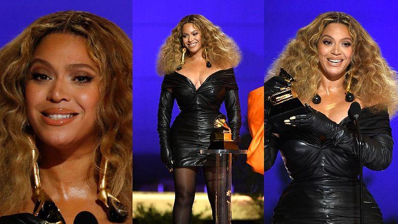 Grammy 2021: Beyonce z ODMIENIONĄ TWARZĄ triumfuje na gali w za małej sukience (ZDJĘCIA)