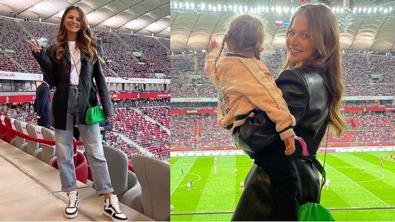 Anna Lewandowska z Klarą kibicują Robertowi na Stadionie Narodowym w meczu z Albanią (FOTO)