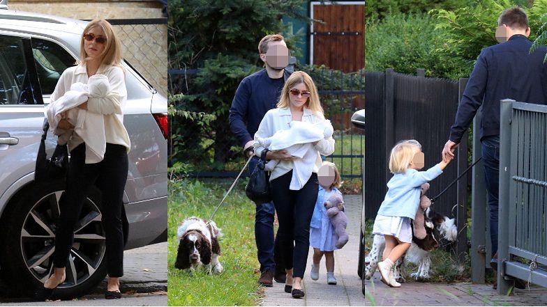 Kasia Tusk z mężem, córkami i psem Portosem w odwiedzinach u dziadków (ZDJĘCIA)