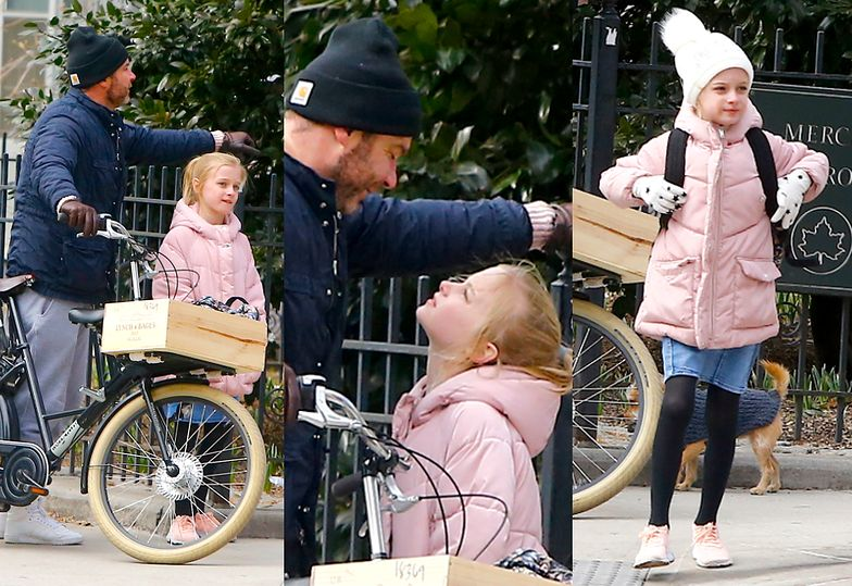 Liev Schreiber na rowerze z 10-letnim synem