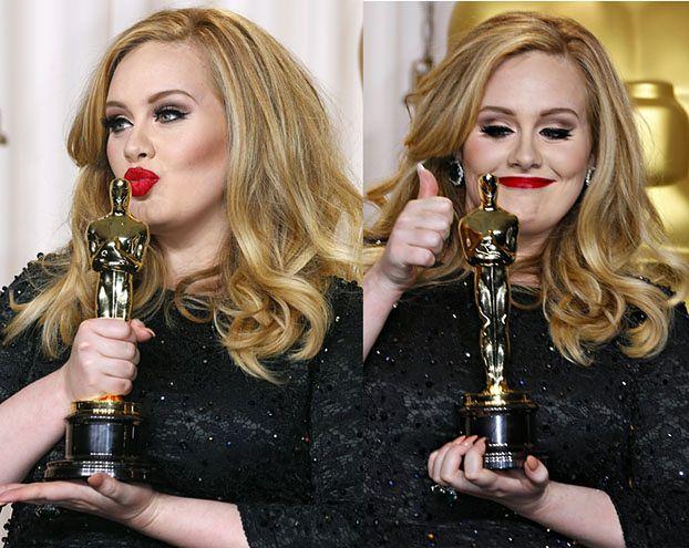 Adele całuje Oscara! PIĘKNA? (ZOBACZ ZDJĘCIA!)