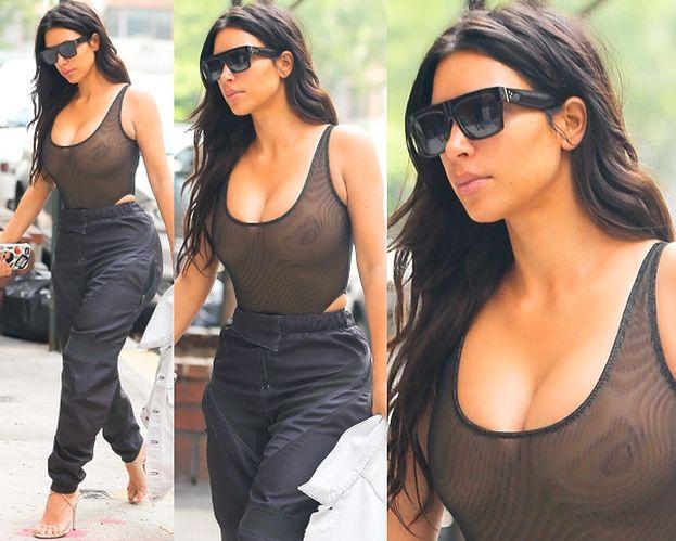 Kim Kardashian BEZ STANIKA w Nowym Jorku (ZDJĘCIA)