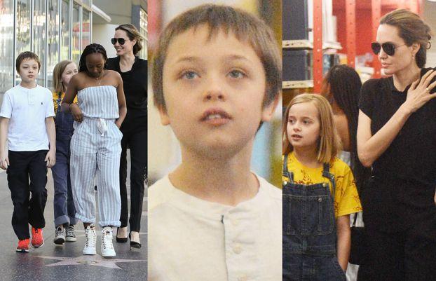 Zadowolona Jolie wraca z sushi i idzie z dziećmi na zakupy (ZDJĘCIA)