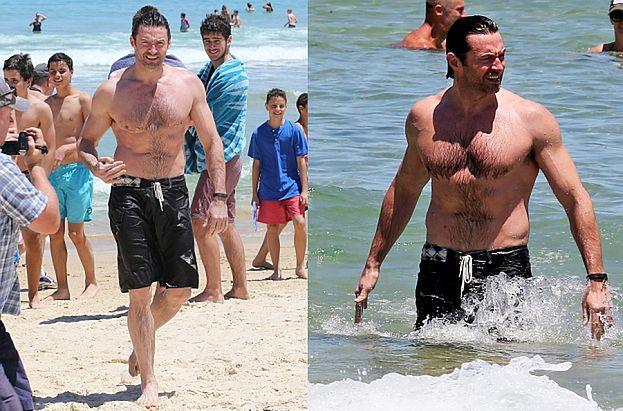 Hugh Jackman na plaży BEZ KOSZULKI! (ZDJĘCIA)
