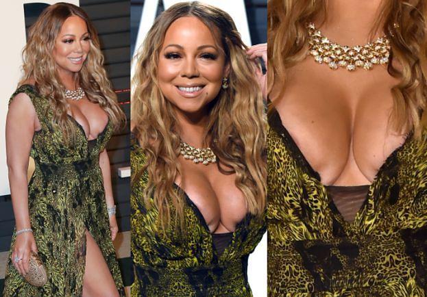 Ściśnięte piersi Mariah Carey na imprezie po Oscarach. ZA CHWILĘ EKSPLODUJĄ? (ZDJĘCIA)