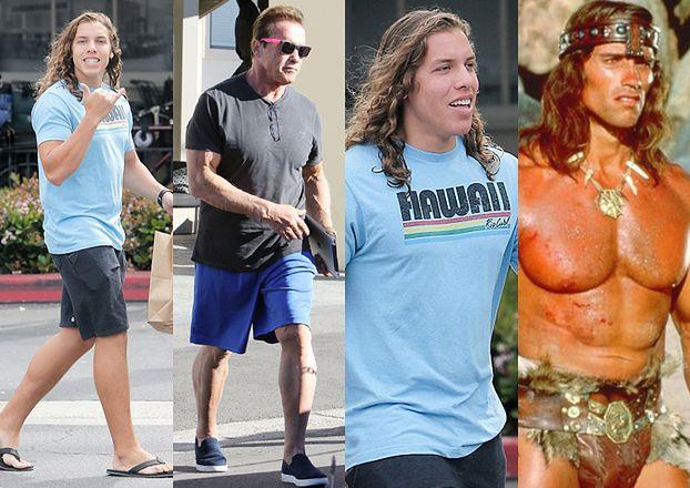 Nieślubny syn Arnolda Schwarzeneggera kopią ojca sprzed 35 lat? (ZDJĘCIA)