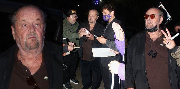 Dawno niewidziany Jack Nicholson z naburmuszoną miną rozdaje autografy przed meczem Lakersów (ZDJĘCIA)